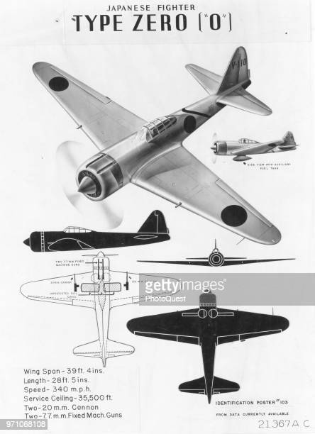 Identification poster shows the Japanese Mitsubishi Fighter Type Zero fighter plane from various angles including in silhouette along with some...