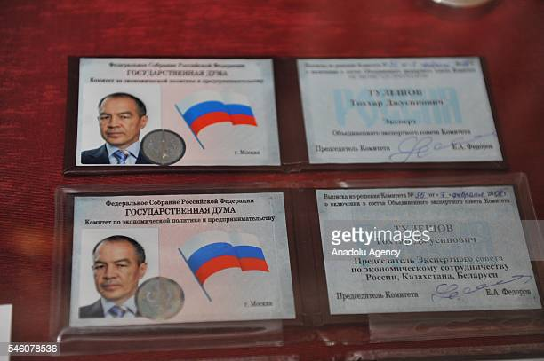 Identity cards of detained Kazakh entrepreneur Tohtar Talashov who has been charged allegedly attempting coup against government are seen as National...