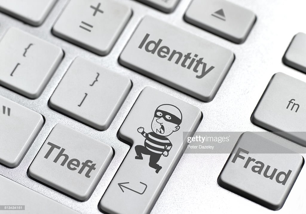 Identity theft keyboard : Stock Photo