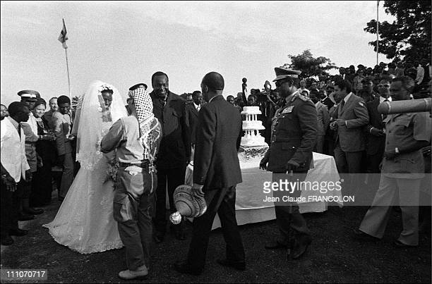 Idi Amin Dada and wife Yasser Arafat King Sobhuza of Swaziland at the wedding in Kampala Uganda in August 1975