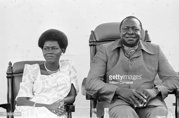 Idi Amin Dada, Président de l'Ouganda accompagné de l'une de ses épouses Sarah, Kampala, 8 Mai 1978