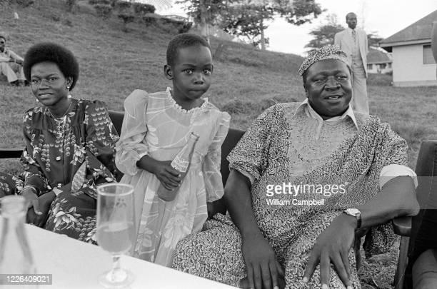Idi Amin Dada Président de l'Ouganda accompagné de l'une de ses épouses Sarah et sa file Araba lors d'une journée exceptionelle de festivités à...