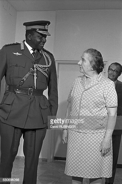 Idi Amin meets with Golda Meir during a visit to Israel in 1971