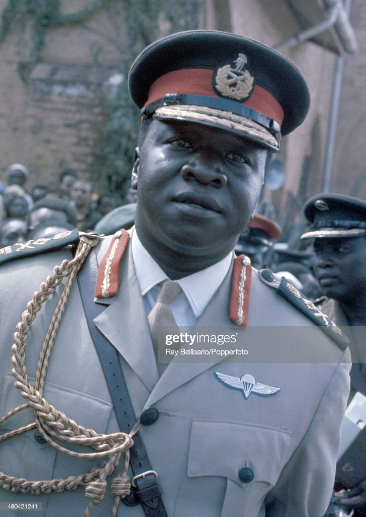 Idi Amin, third president of Uganda, at the state funeral of King Freddie (Edward Luwangula Walngembe Mutesa II or Sir Edward Mutesa II), who was its first president and King of Buganda, circa April 1971. King Freddie died in exile in London under mysterious circumstances in 1969 and two years later Idi Amin ordered that his body should be returned to Uganda for a state funeral.