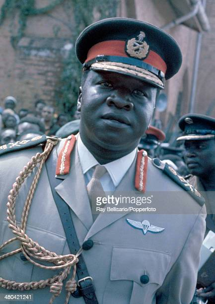 Idi Amin, third president of Uganda, at the state funeral of King Freddie , who was its first president and King of Buganda, circa April 1971. King...