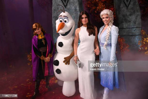 Idina Menzel and Frozen characters attend the premiere of Disney's Frozen 2 at Dolby Theatre on November 07 2019 in Hollywood California
