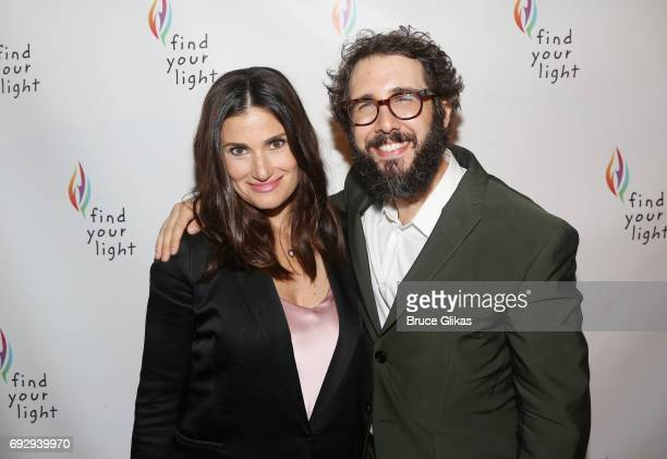 Idina Menzel and Josh Groban pose the 2017 Find Your Light Gala at City Winery on June 5 2017 in New York City