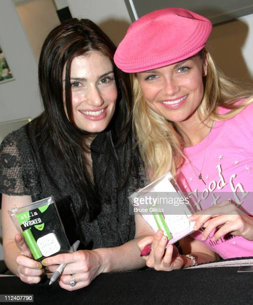 Idina Menzel and Kristin Chenoweth during 'Wicked' Stars Idina Menzel and Kristin Chenoweth Unveil their New Line of Cosmetics at Sephora Times...