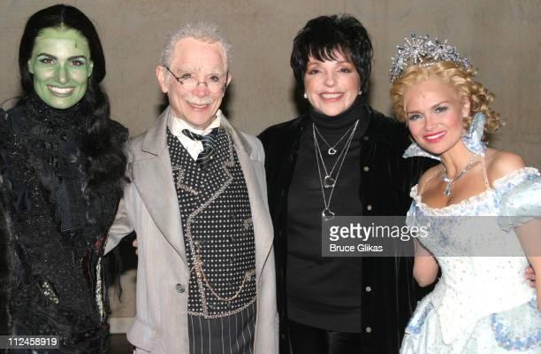 Idina Menzel as 'Elpheba The Wicked Witch' Joel Grey as 'The Wizard' Liza Minnelli and Kristin Chenoweth as 'Glinda The Good Witch' *Exclusive*
