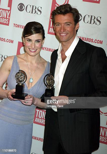 "Idina Menzel, winner Best Leading Actress in a Musical for ""Wicked"" and Hugh Jackman, winner Best Leading Actor in a Musical for ""The Boy From Oz"""