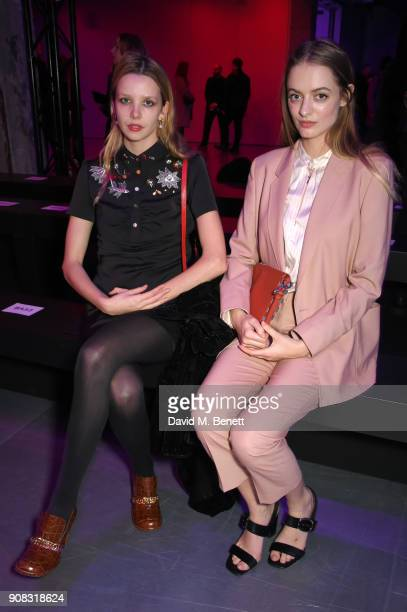 Idina Moncreiffe and Greta Bellamacina waering Paul Smith attend the Paul Smith AW18 Men's and Women's Show on January 21 2018 in Paris France