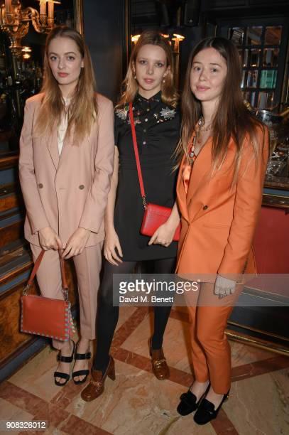 Idina Moncreiffe Greta Bellamacina and Flo Morrisey wearing Paul Smith attends the Paul Smith Malgosia Bela AW18 Lunch on January 21 2018 in Paris...