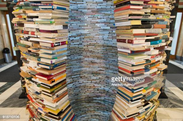 Idiom installation, created by Slovakian artist, Matej Kren, is seen at Prague Library in Prague, Czech Republic on February 08, 2018. Idiom...