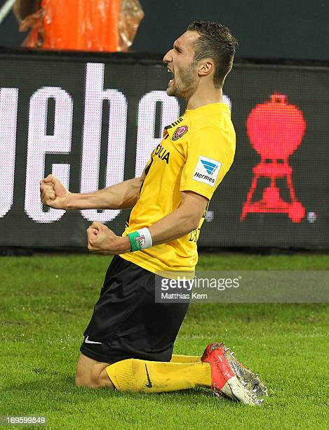 Idir Ouali of Dresden jubilates after scoring the second goal during the Second Bundesliga playoff second leg match between SG Dynamo Dresden and VFL...