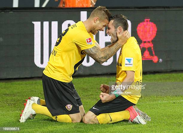 Idir Ouali of Dresden jubilates with team mate Tobias Kempe after scoring the second goal during the Second Bundesliga playoff second leg match...