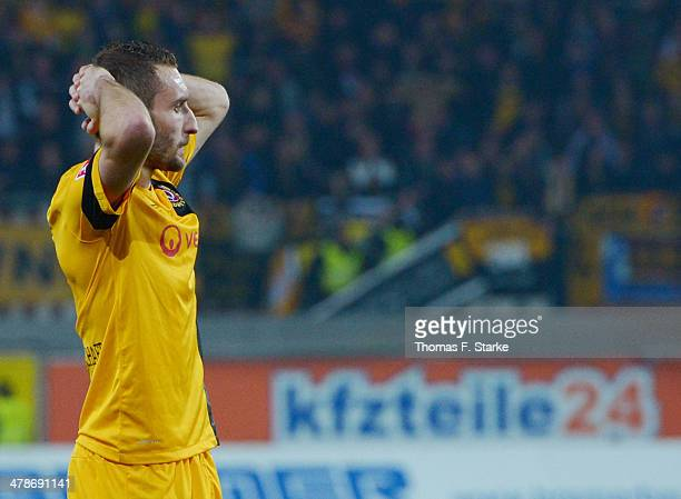 Idir Ouali of Dresden looks dejected during the Second Bundesliga match between SC Paderborn and Dynamo Dresden at Benteler Arena on March 14, 2014...