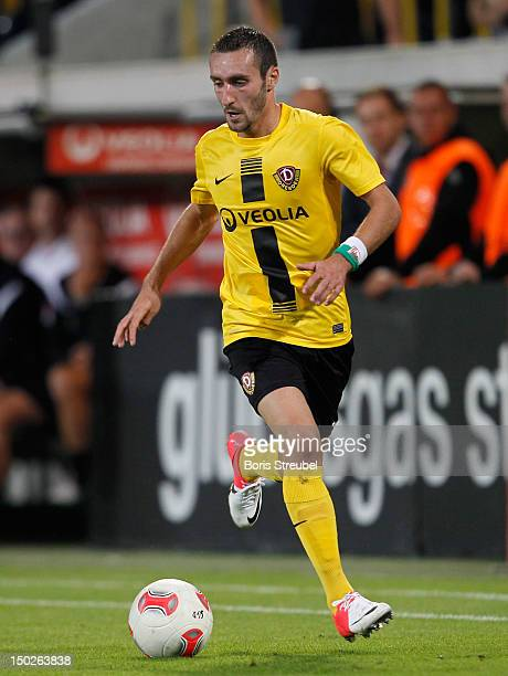 Idir Ouali of Dresden runs with the ball during the Second Bundesliga match between SG Dynamo Dresden and 1860 Muenchen at GluecksgasStadion on...