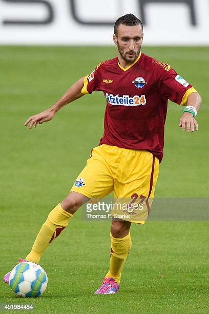Idir Ouali of Paderborn runs with the ball during the friendly match between Arminia Bielefeld and SC Paderborn at Schueco Arena on July 10 2014 in...