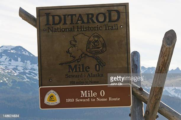 iditarod national historic trail sign. - iditarod stock pictures, royalty-free photos & images