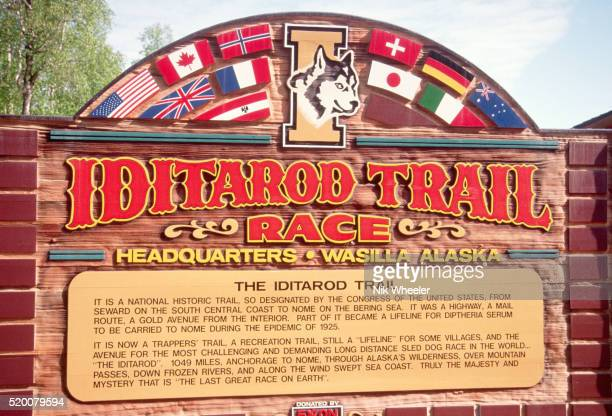 iditarod race sign - iditarod stock pictures, royalty-free photos & images