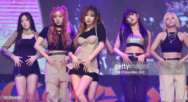 Dle attends the showcase for I-dle's second single album 'Uh-Oh' at Blue Square on June 26, 2019 in Seoul, South Korea.