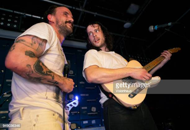 Idles guitarist Lee Kieran and lead singer Lee Talbot perform with the band at Gorilla on April 18 2018 in Manchester England