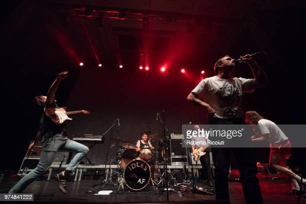 Idles perform on stage at Usher Hall on June 14 2018 in Edinburgh Scotland