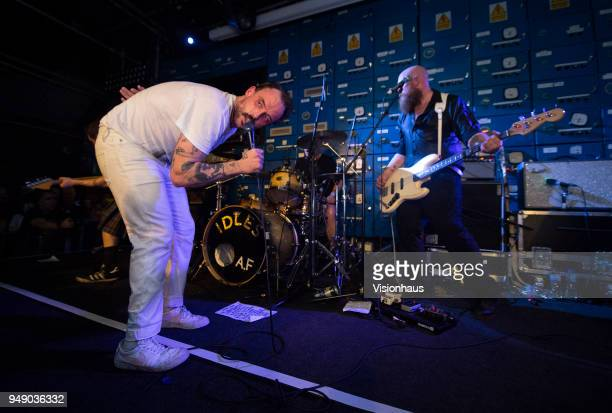 Idles with lead singer Joe Talbot and Adam Devonshire on bass perform at Gorilla on April 18 2018 in Manchester England
