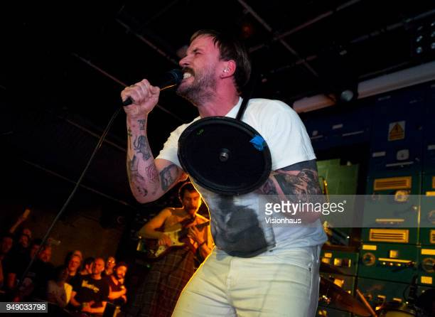 Idles with lead singer Joe Talbot perform at Gorilla on April 18 2018 in Manchester England