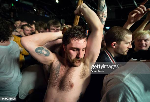 Idles'u2019 lead guitarist Mark Bowen in the crowd as the band perform at Gorilla on April 18 2018 in Manchester England