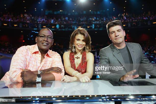 Idol Judges Randy Jackson Paula Abdul and Simon Cowell pose at the American Idol final performance show at the Kodak Theatre on May 24 2005 in Los...