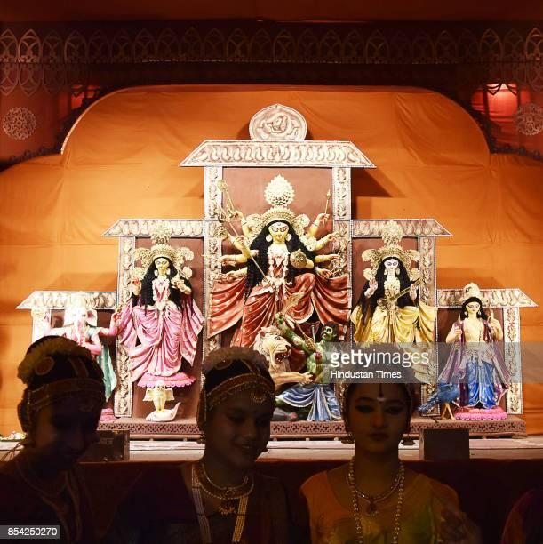 Idol of Goddess Durga at Durga Puja Pandals on September 26 2017 in Gurgaon India