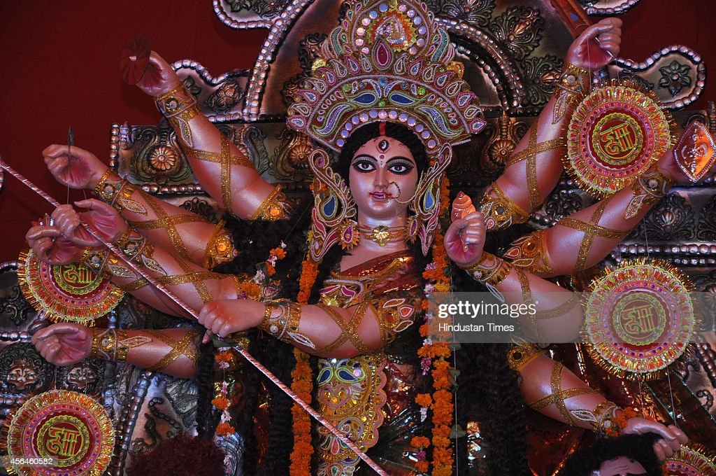Idol of Goddess Durga at Puja Pandal on the first day of the Durga Puja festival at Vaishali Sector 4 on October 1 2014 in Ghaziabad India Hindu...