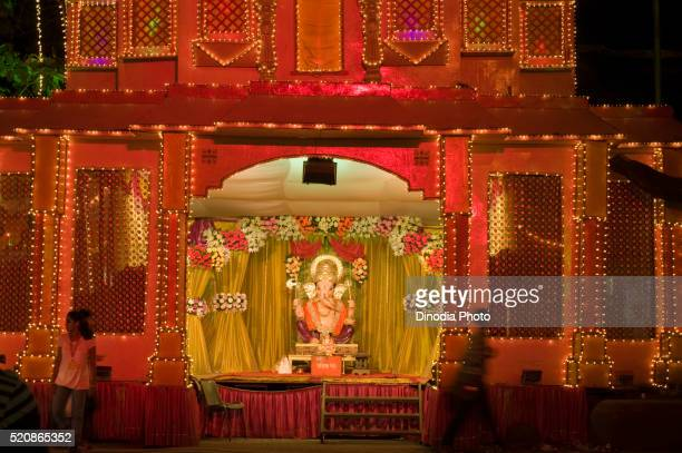 Pandal decorations stock photos and pictures getty images idol of lord ganesh festival pune maharashtra india asia altavistaventures Images