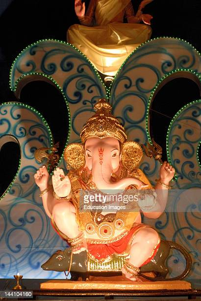 Idol Of Lord Ganesh Sitting On His Vehicle Mouse Elephant Headed God Of Hindu Worshiping For Ganapati Festival At Talim Gurugi Third In Honor At Pune...