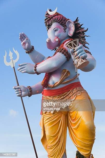 idol of lord ganesha representing lord shiva, mumbai, maharashtra, india - ganesh chaturthi stock photos and pictures