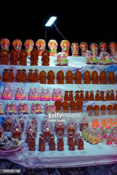 Idols of Hindu gods and goddesses - Diwali market, New Delhi, India