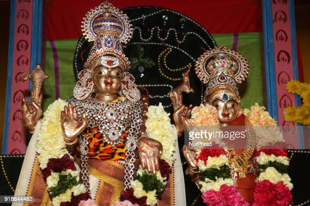 Idols of Lord Shiva and Goddess Parvati during the Maha Shivratri festival at a Tamil Hindu temple in Ontario Canada on February 13 2018 Maha...
