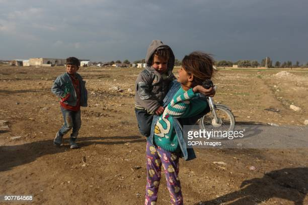 IDPs children from the area of Al Bayad seen in their refugee camp outside of Damascus in Ash'ari It is noteworthy that the people of AlBayad fled...
