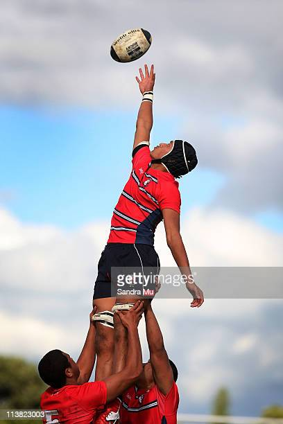 Idris Balizi of Kelston in the lineout during the Schoolboys match between Kelston Boys High and Kings College at Kelston on May 7 2011 in Auckland...