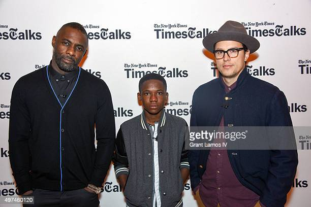Idris Elba Abraham Attah and Cary Fukunaga attend the TimesTalks Beast Of No Nation at Times Center on November 16 2015 in New York City