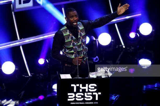 Idris Elba addresses the crowd during the The Best FIFA Football Awards Show at Royal Festival Hall on September 24 2018 in London England