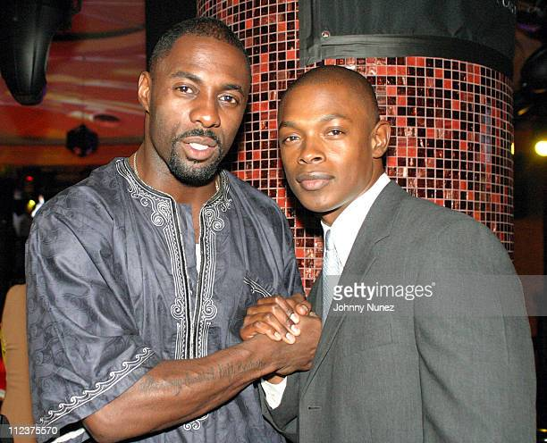 Idris Elba and Andre Brown during Earvin Magic Johnson Cocktail Mixer at LQ at LQ in New York City New York United States