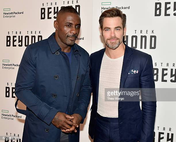 Idris Elba and Chris Pine attend the 'Star Trek Beyond' New York Premiere at Crosby Street Hotel on July 18 2016 in New York City