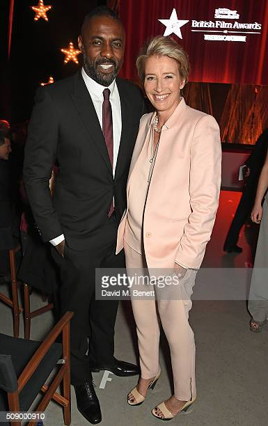 Idris Elba and Emma Thompson attend a champagne reception at the London Evening Standard British Film Awards at Television Centre on February 7 2016...