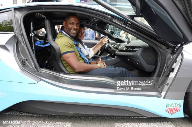 Idris Elba and Formula E CEO Alejandro Agag attend the ABB FIA Formula E Qatar Airways Paris EPrix 2018 on April 28 2018 in Paris France