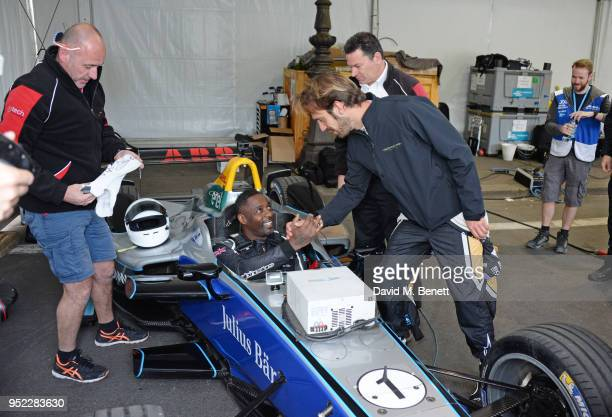 Idris Elba and Formula E racing driver JeanEric Vergne attend the ABB FIA Formula E Qatar Airways Paris EPrix 2018 on April 28 2018 in Paris France