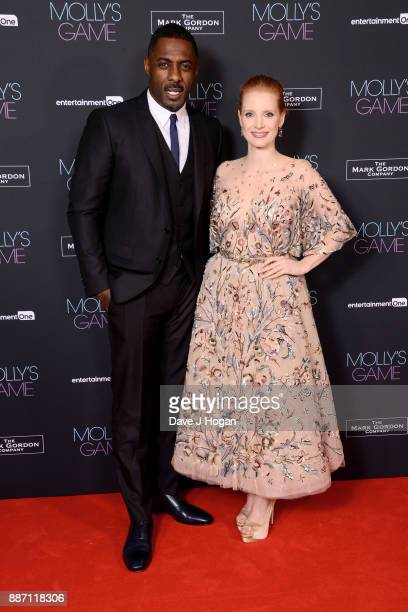Idris Elba and Jessica Chastain attend the 'Molly's Game' UK premiere held at Vue West End on December 6 2017 in London England