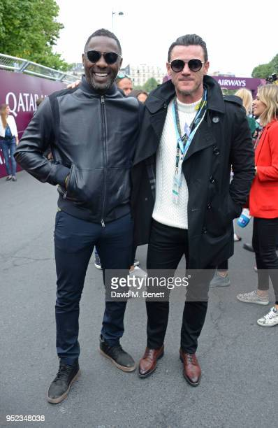 Idris Elba and Luke Evans attend the ABB FIA Formula E Qatar Airways Paris EPrix 2018 on April 28 2018 in Paris France