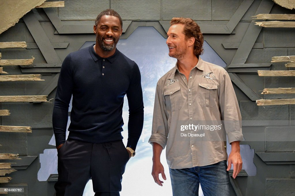 Idris Elba (L) and Matthew McConaughey attend 'The Dark Tower' photocall at the Whitby Hotel on July 30, 2017 in New York City.
